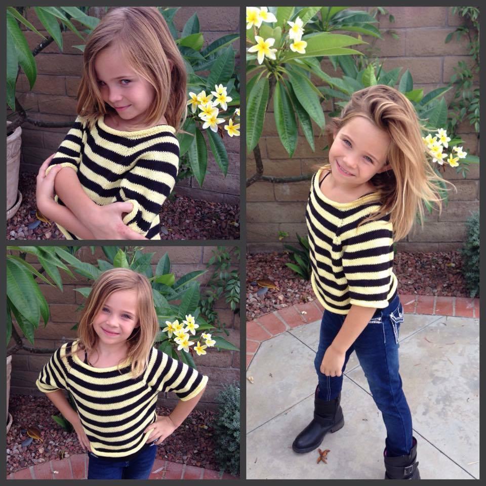 Csíkos rövid nyári pulcsi kislányoknak