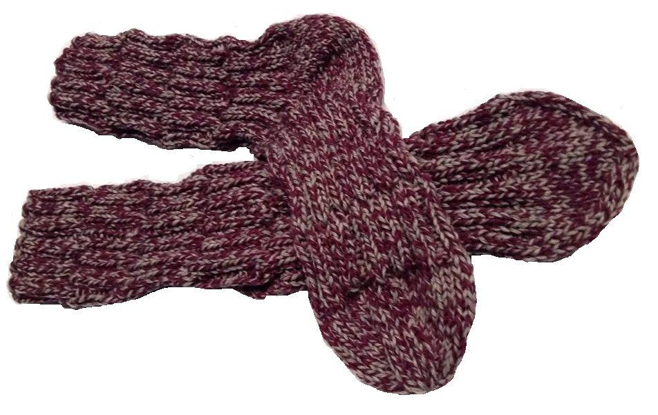 Kézzel kötött gyapjú zokni bumeráng sarokkal