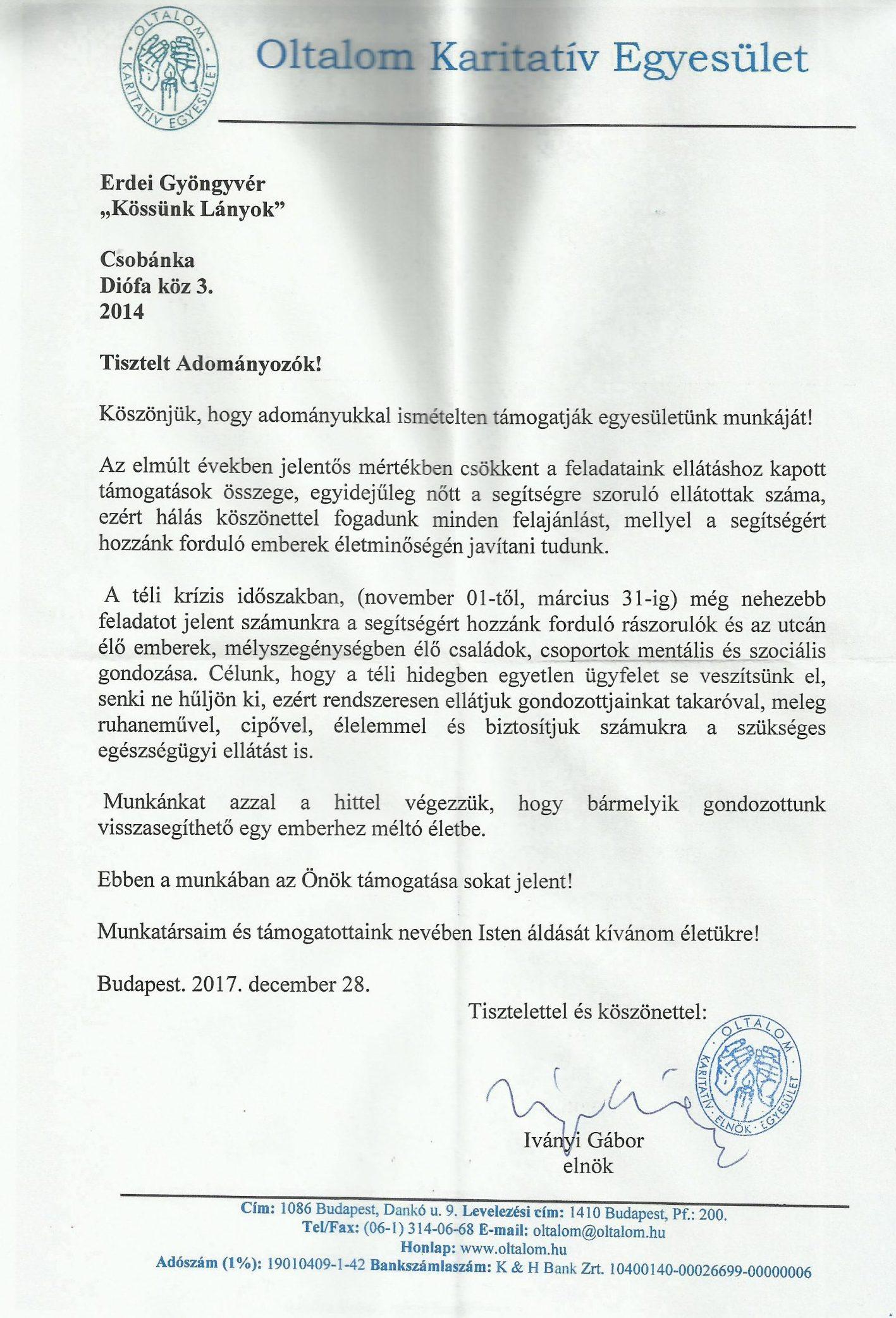 Oltalom Karitativ Egyesület köszönő levél