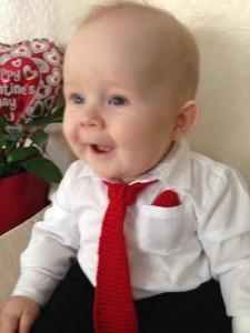 kézzel kötött baba nyakkendő és zsebdísz