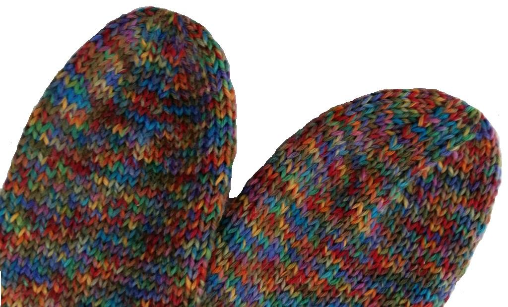 Kézzel kötött női zokni orrának kialakítása
