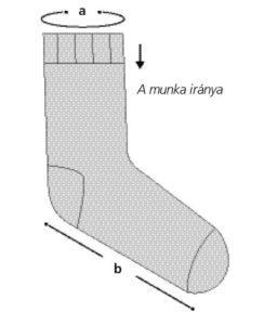 horgolt zokni munka iránya