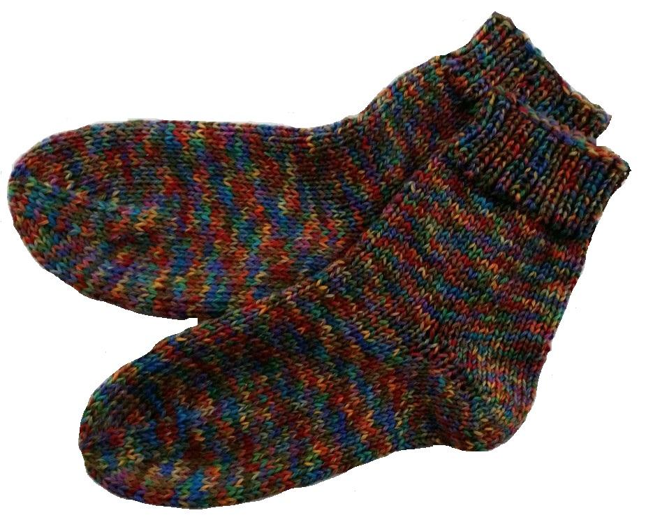 Kézzel kötött női zokni bumeráng sarokkal