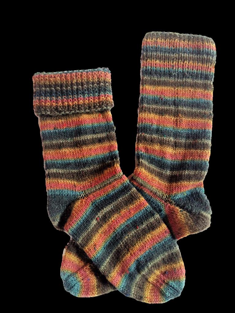 Kézzel kötött csíkos zokni